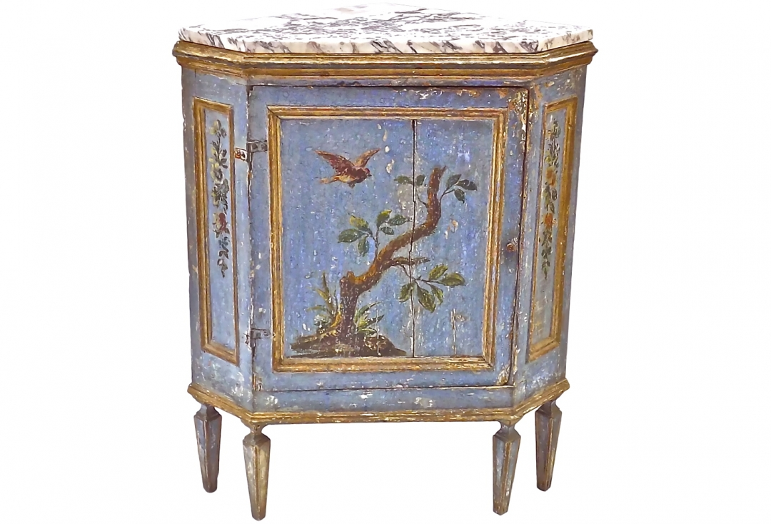 18th c hand painted corner cabinet omero home On hand painted cabinets