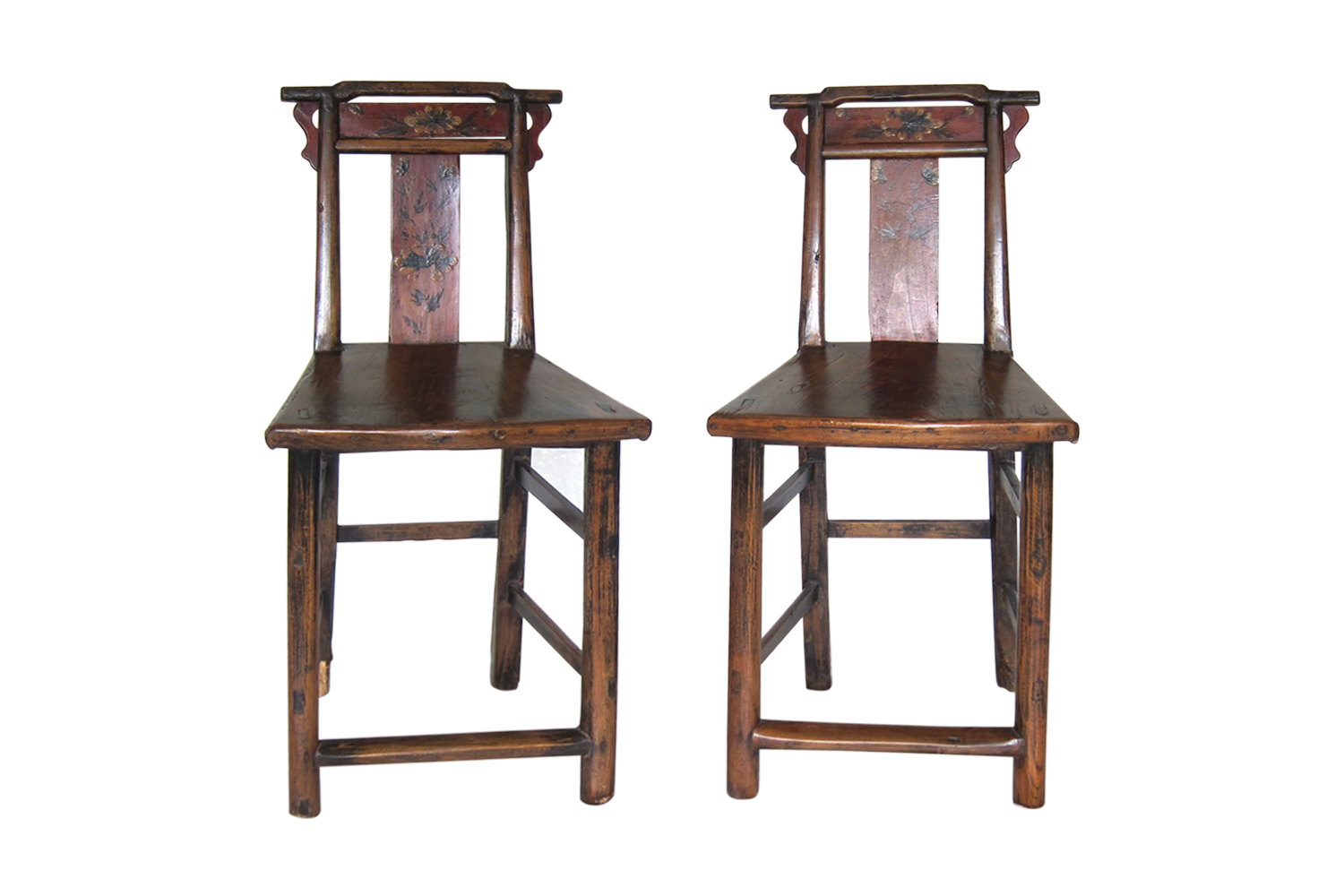 18th Century Painted Flower Chinese Chairs, Pair