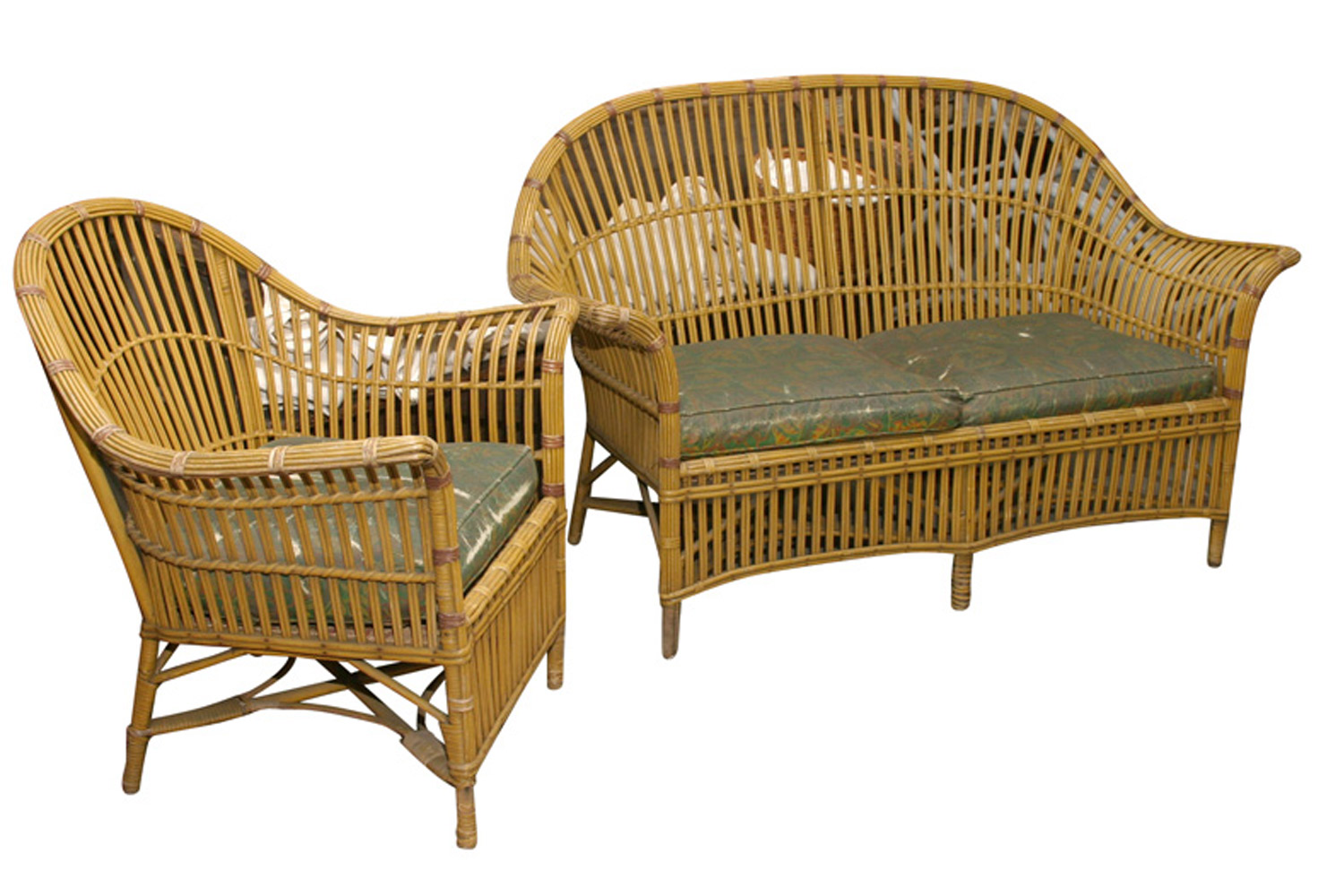 1930s Stick Wicker Sofa Chair Set Omero Home