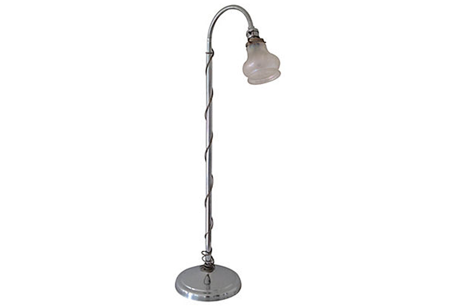 1950s Adjustable Chrome Floor Lamp With French Glass Shade