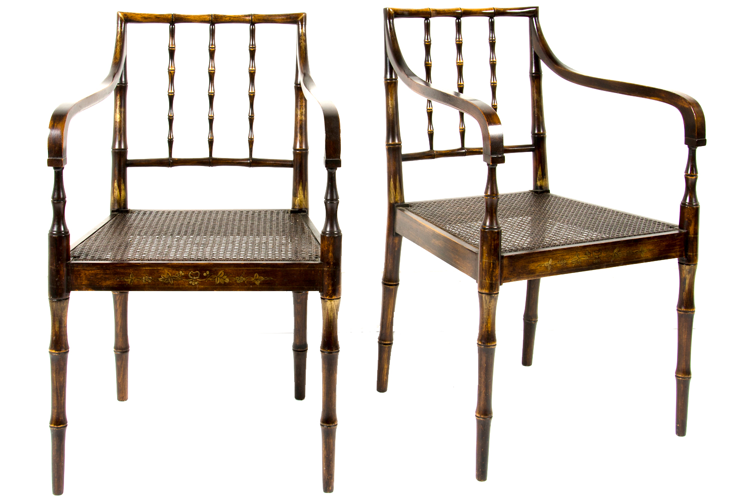 1950 S Faux Bamboo Cane Chairs Pair Omero Home