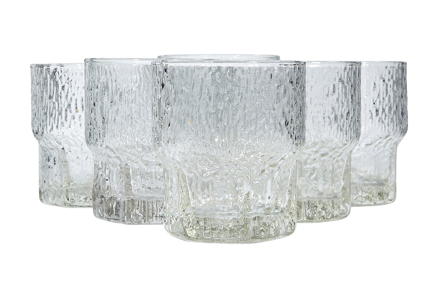 1960s Textured Old Fashioned Glasses S 6