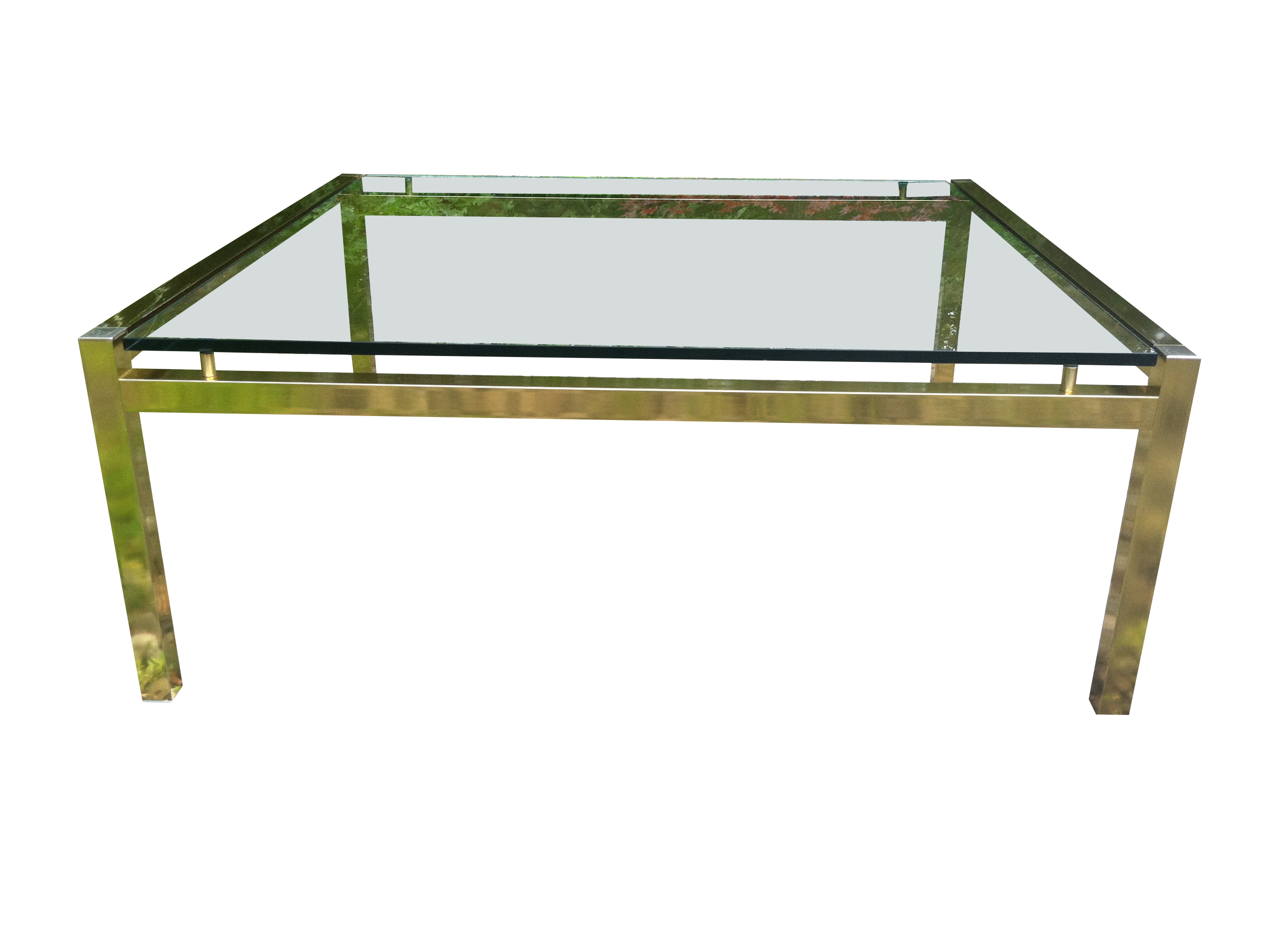 70s Brass Coffee Table with Floating Glass