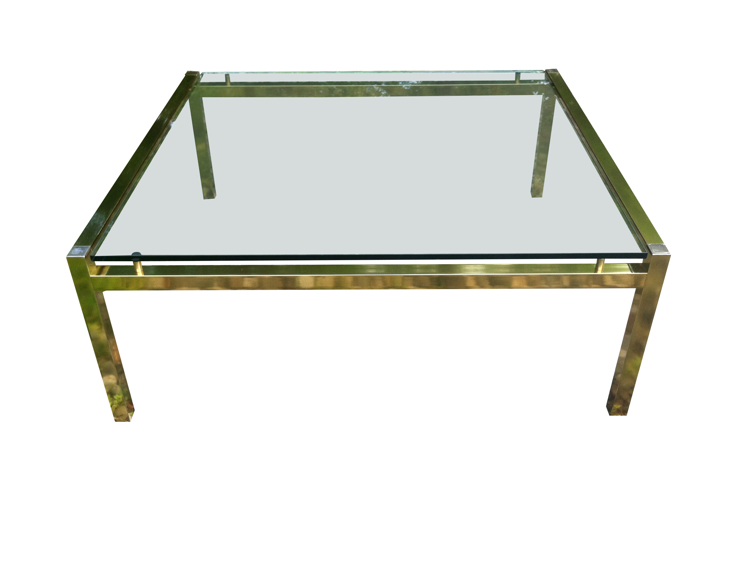70s brass coffee table with floating glass | omero home