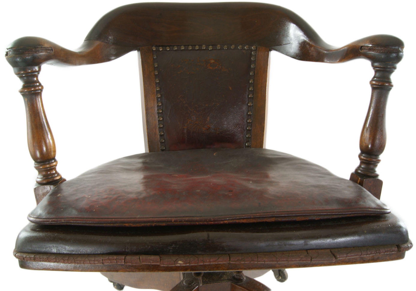 Attirant Antique Bankers Chair, Original Leather Seat Cushion