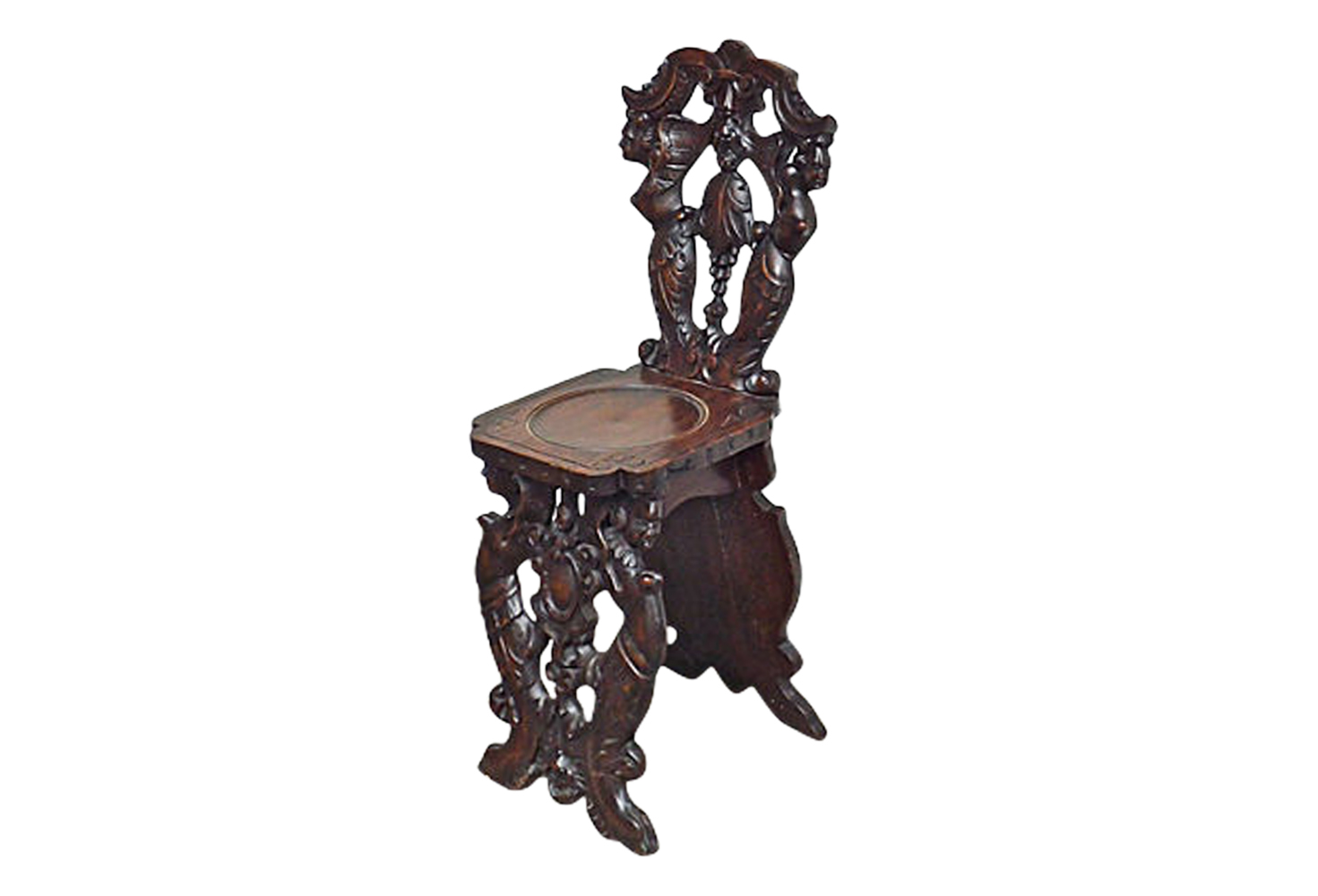 Antique Carved Gothic Revival Hall Chair - Antique Carved Gothic Revival Hall Chair Omero Home