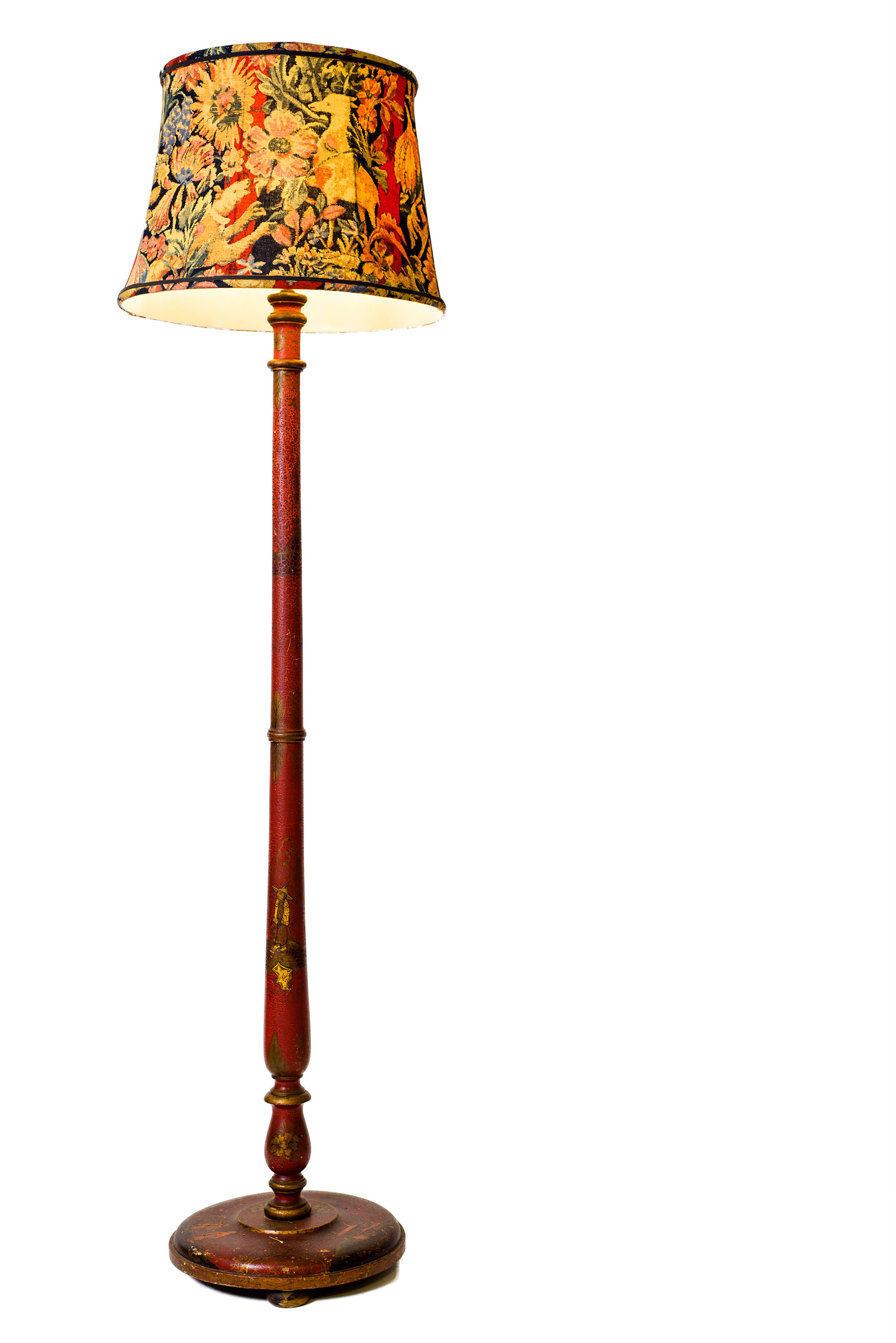 Antique floor lamp with table - Antique Chinoiserie Floor Lamp