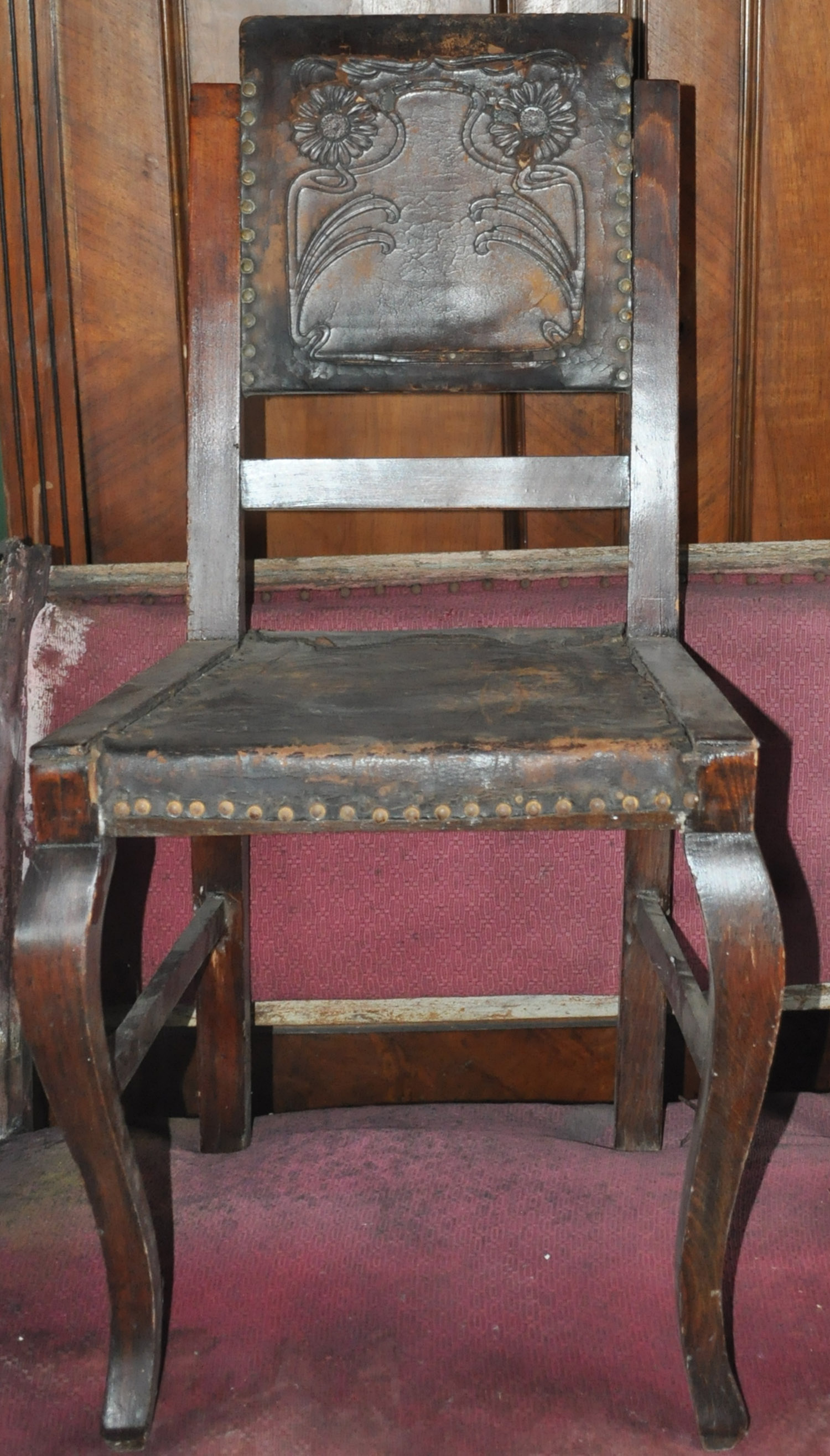 Antique Embossed Leather Dining Chairs Pair