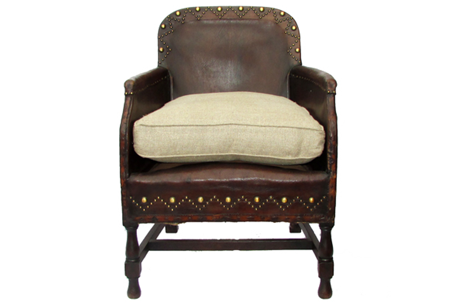 Antique english leather studded chair omero home for Antique leather chairs