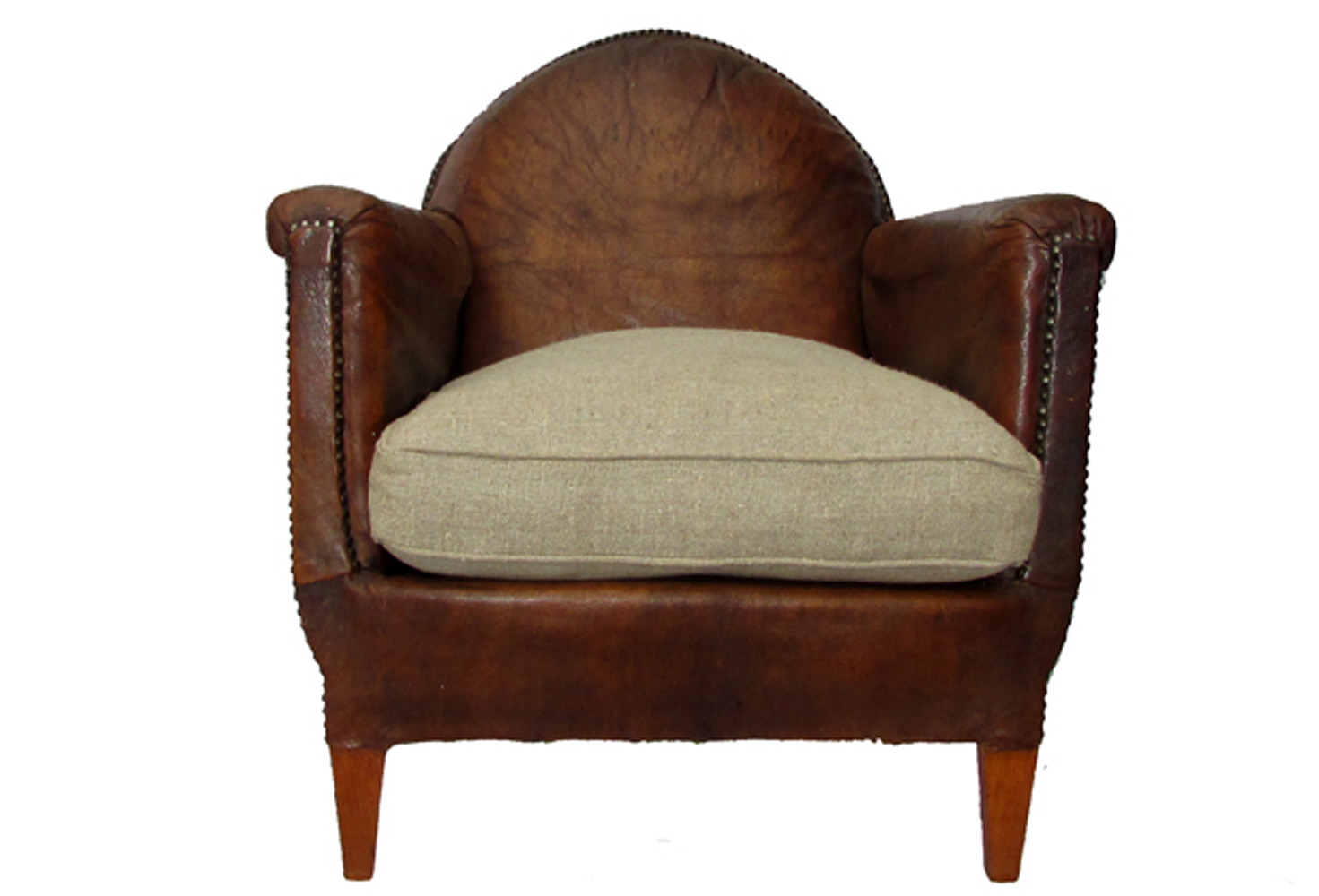 Antique english studded leather chair omero home for Leather studded couch
