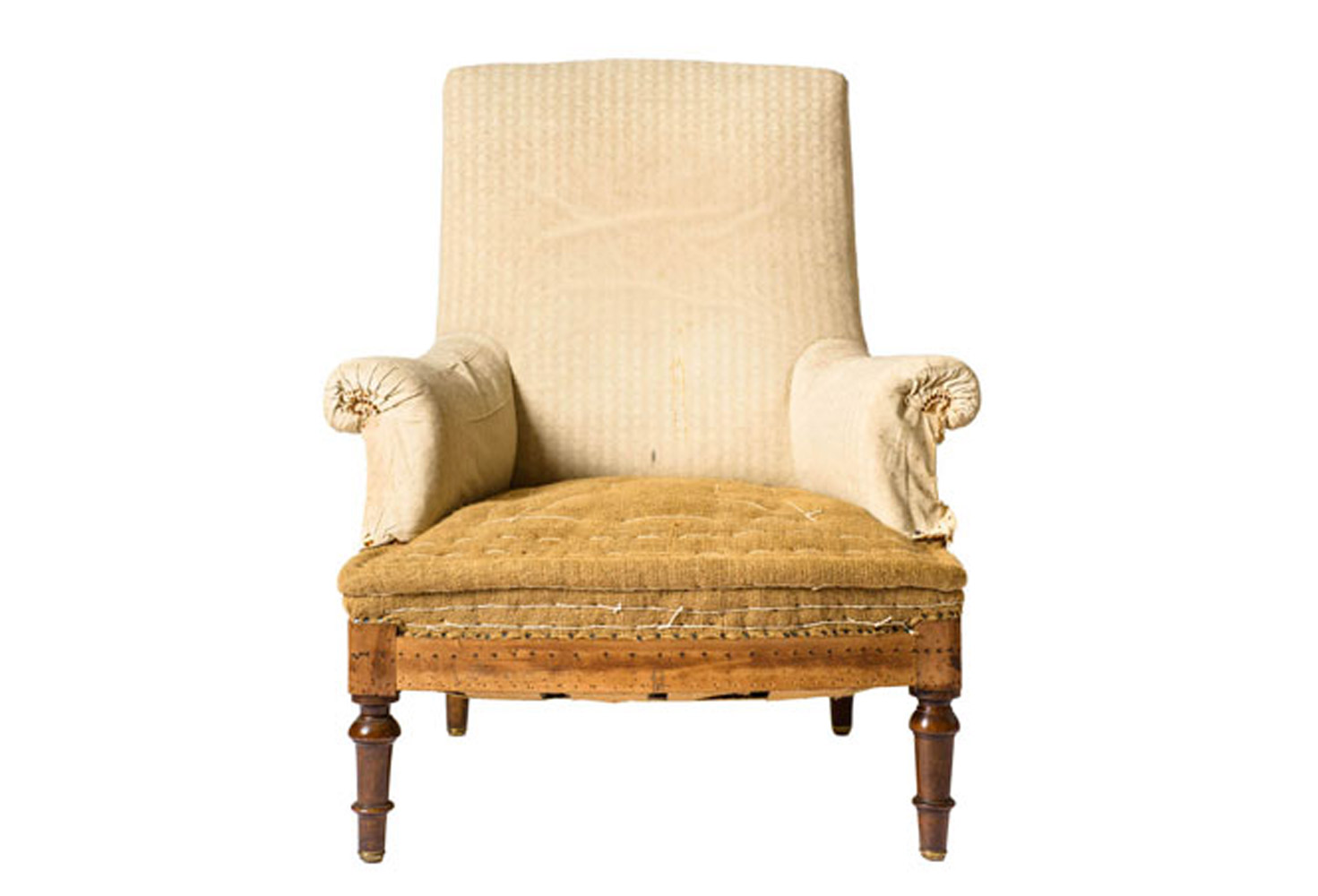 antique french burlap armchair omero home