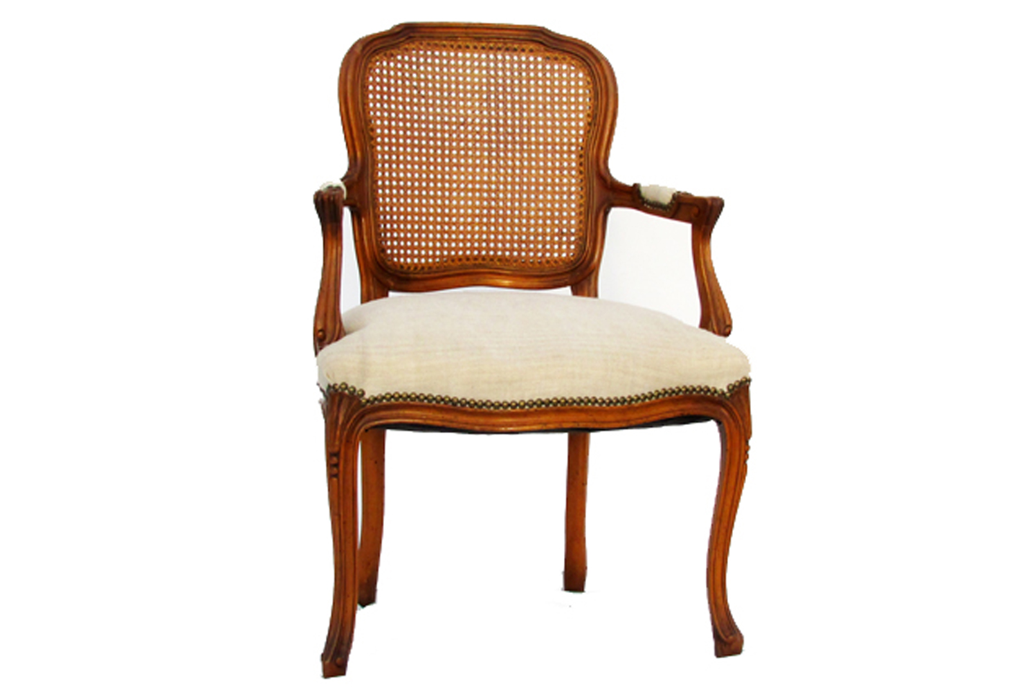 Antique French Cane Back Arm Chair