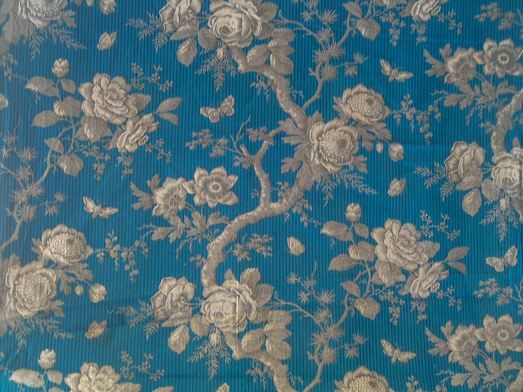 Antique French Fabric Textile 19th C Arboreal In Blue