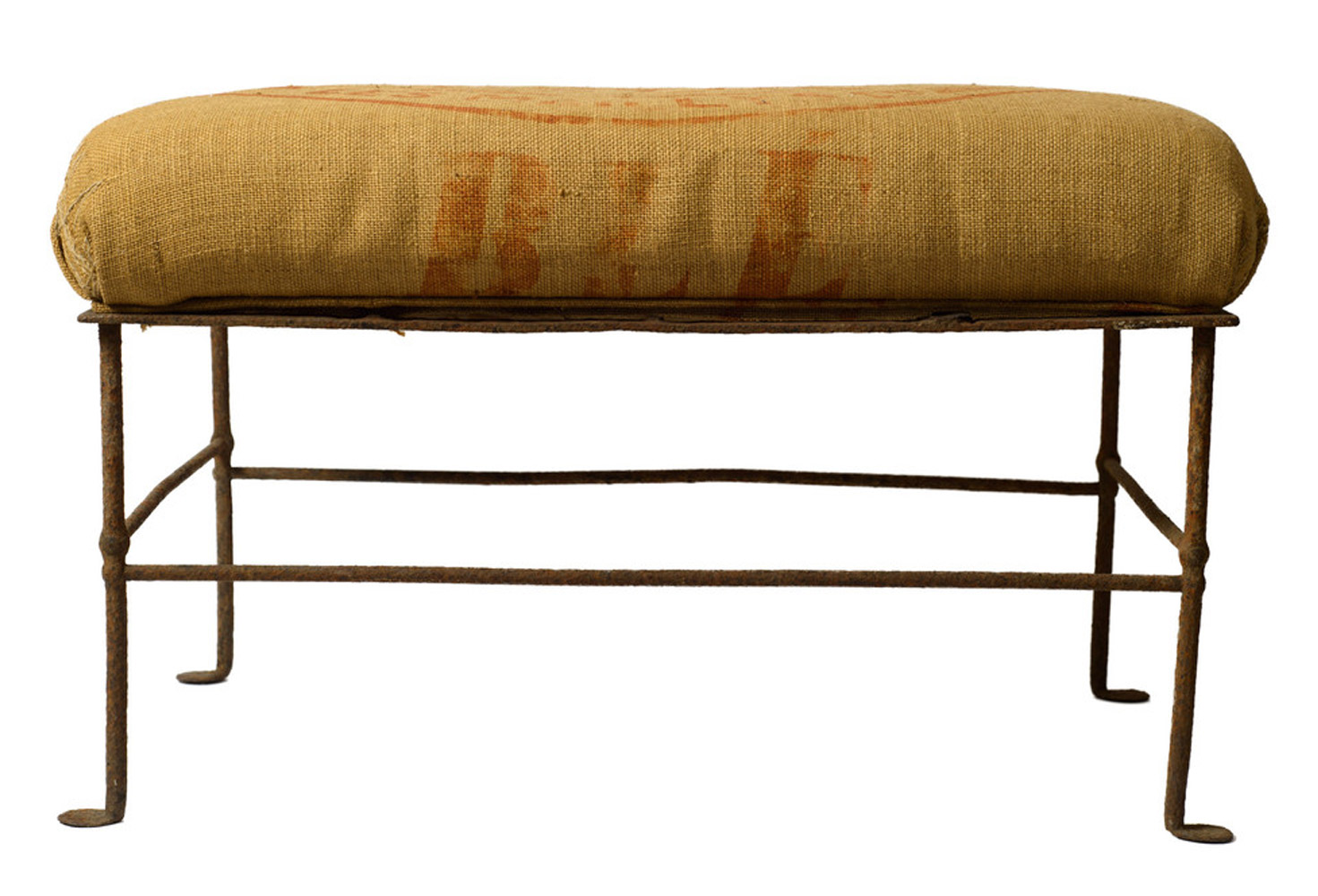 Antique French Grain Sack Iron Bench Omero Home