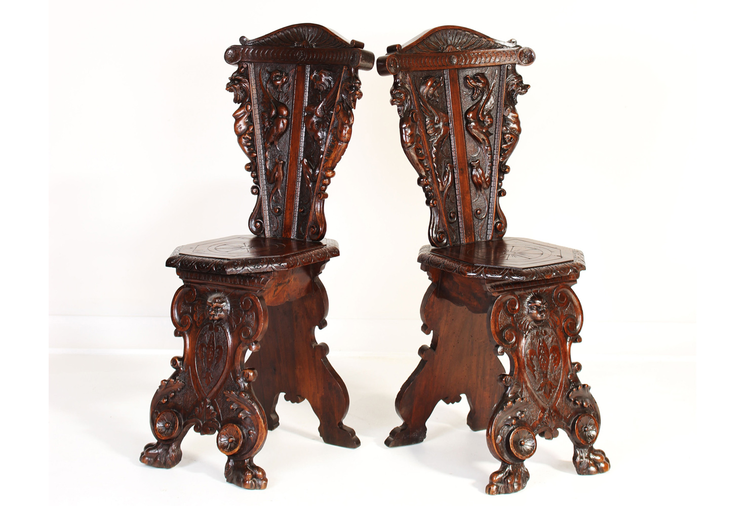 19th Century Renaissance Style Sgabello Chairs
