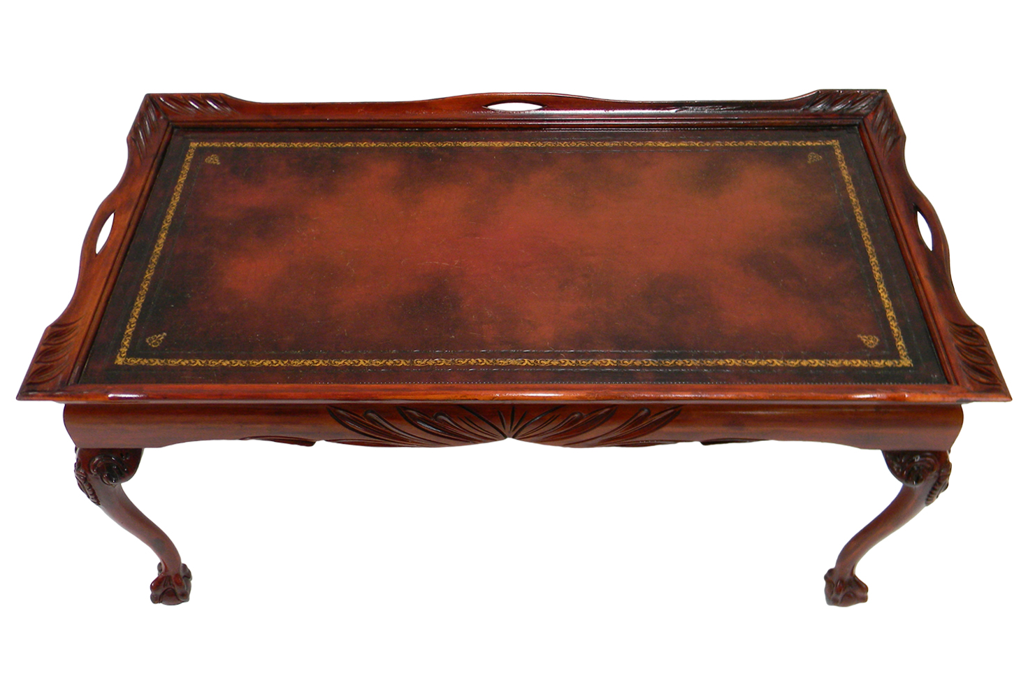 Antique Leather Inlay Coffee Table | Omero Home