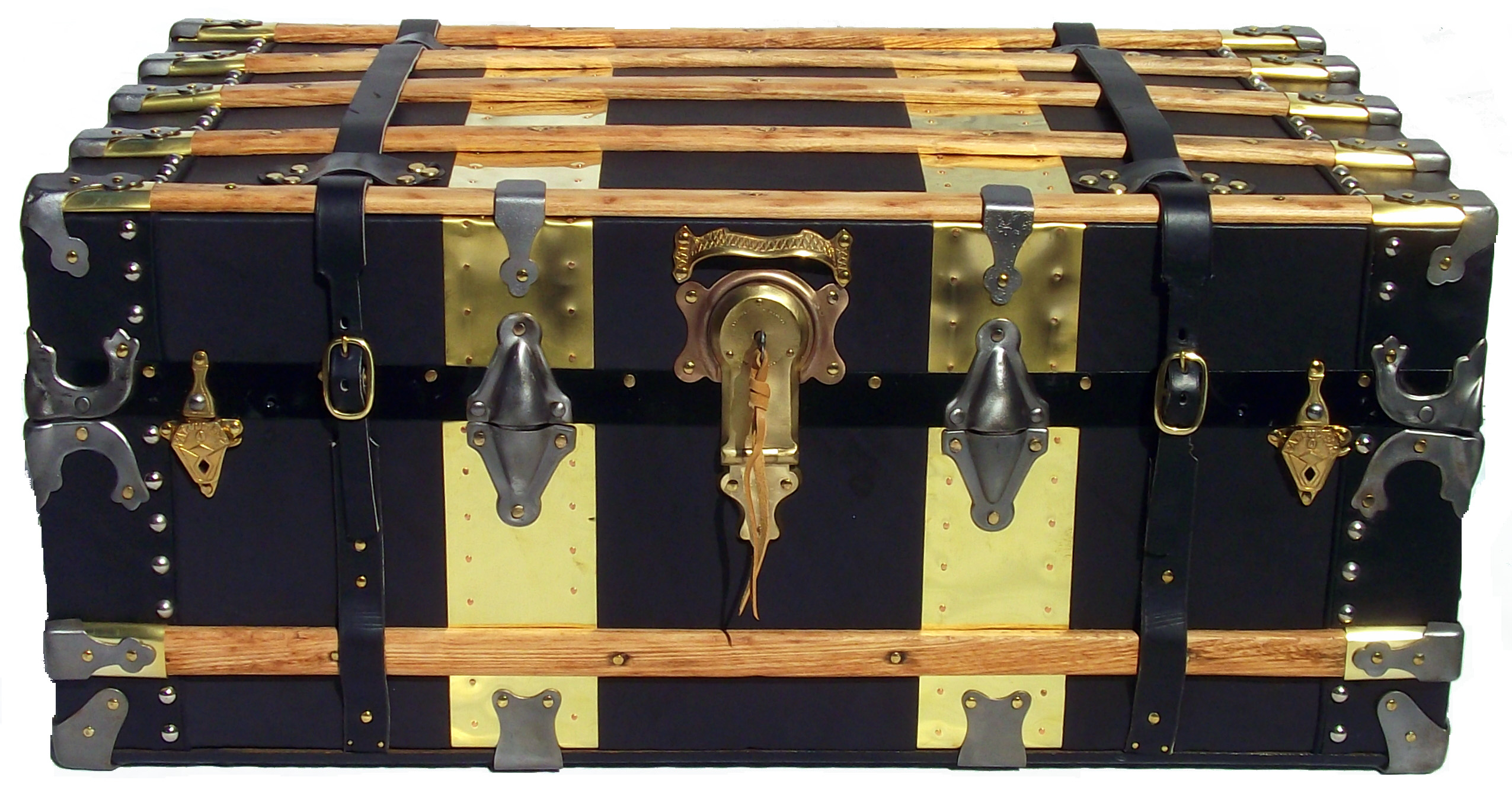 Funky Front Doors Antique Leather And Brass Steamer Trunk Omero Home