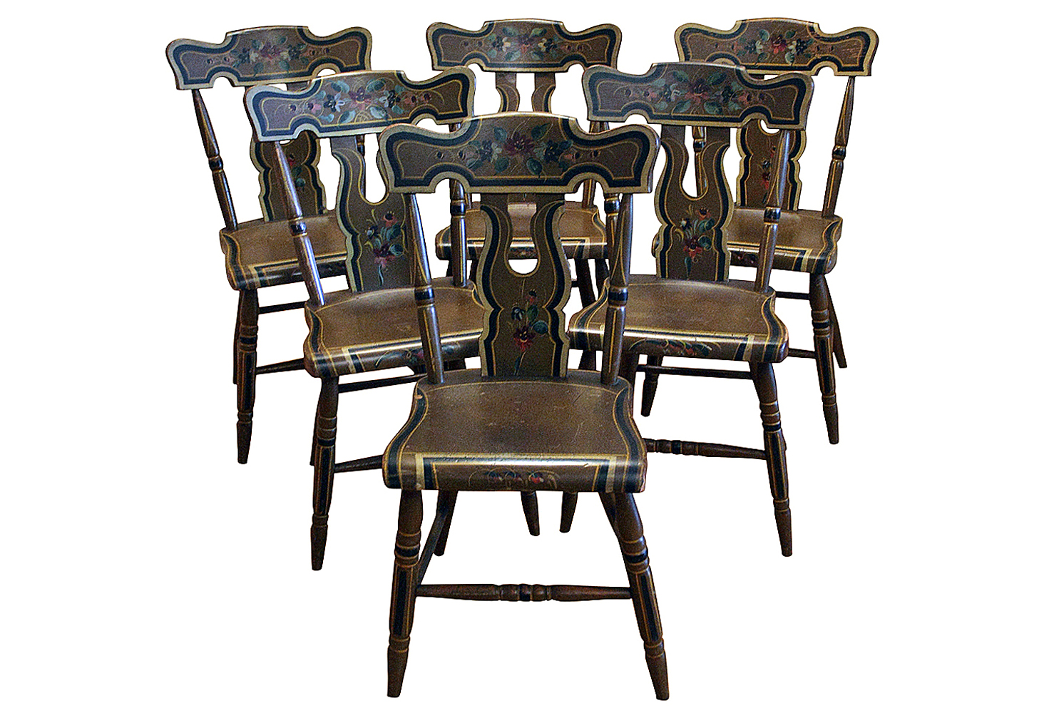 Antique Paint Decorated Bootjack Plank Seat Chairs Set 6