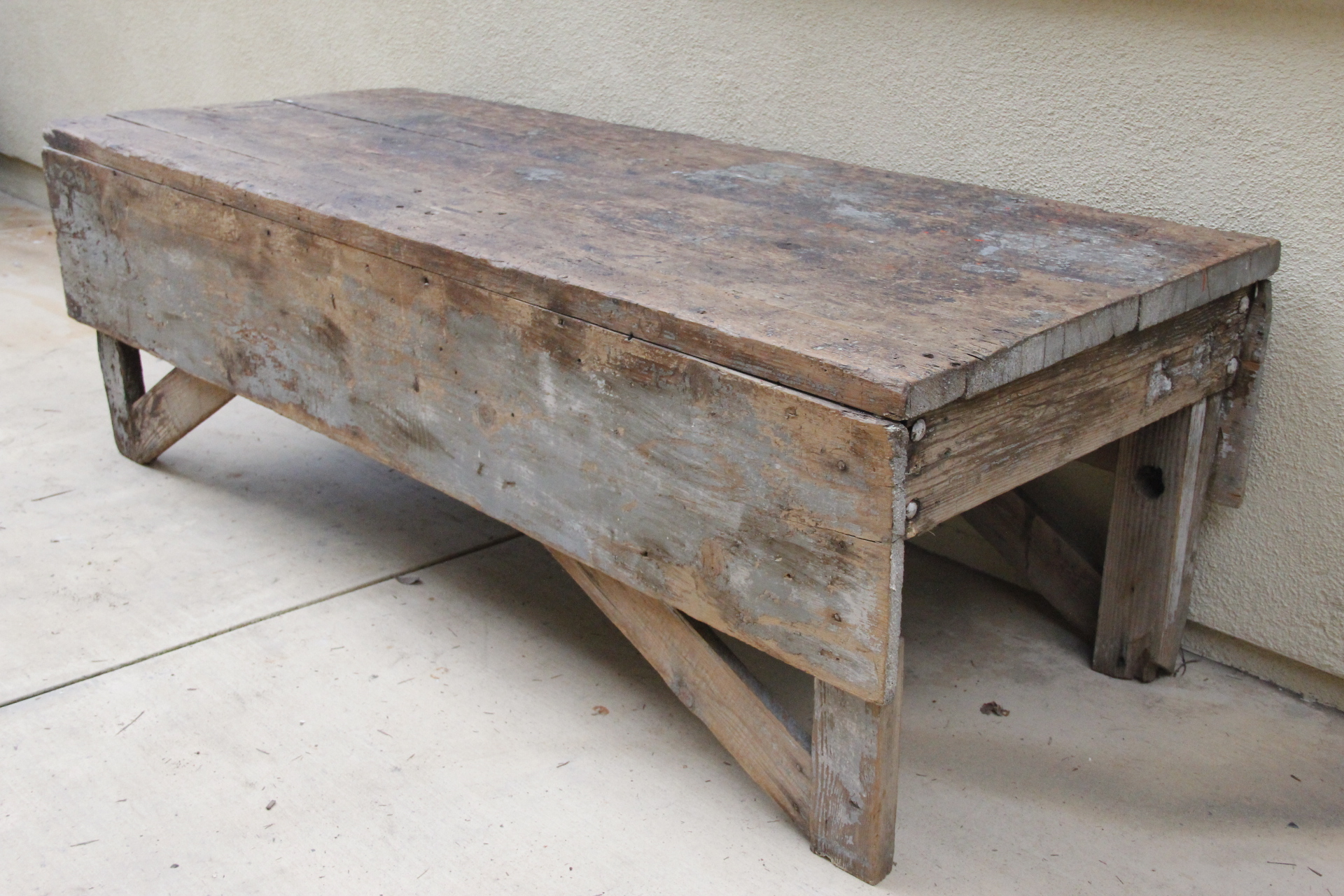 Antique Plank Farmhouse Coffee Table Bench