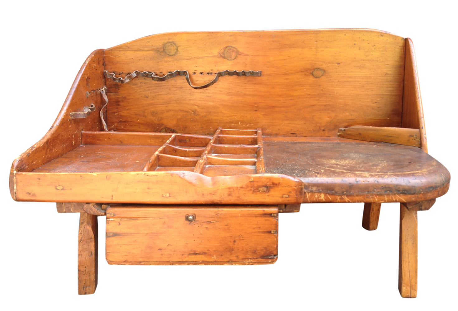 Antique Primitive Cobbler\'s Bench with Leather Seat   Omero Home