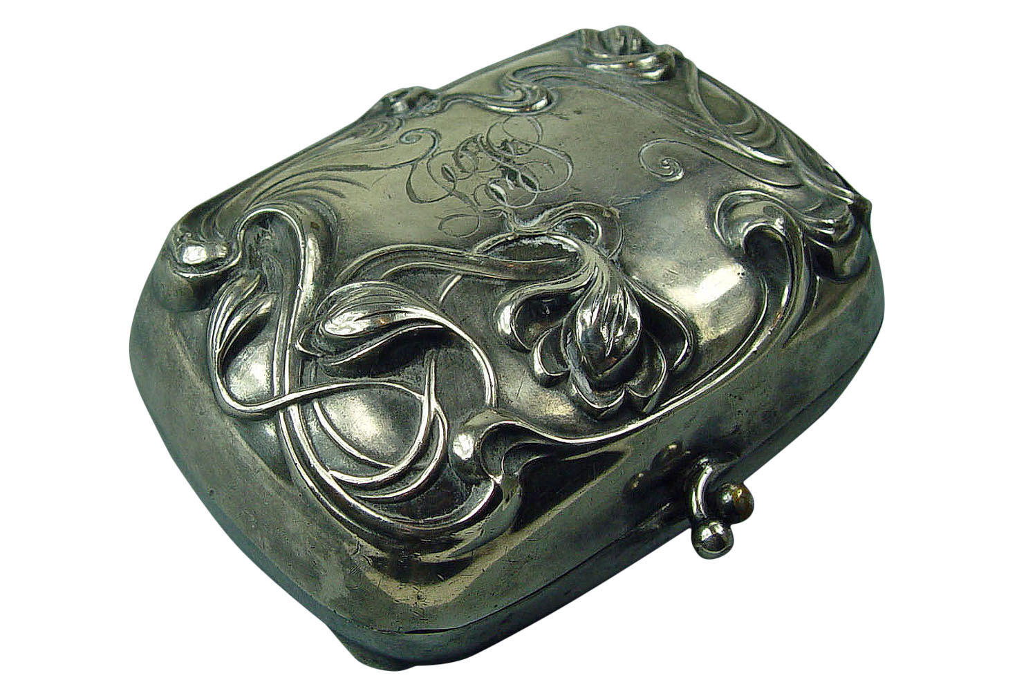 Antique Silver Plate Art Nouveau Dresser Box Omero Home