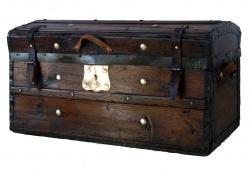 1860 Pine Jenny Lind Antique Trunk