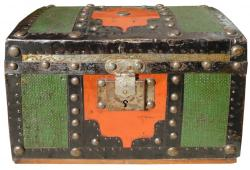 1880s Embossed Metal Covered Red & Green Toy/Doll Trunk