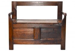 18th-C French Oak Country Bench