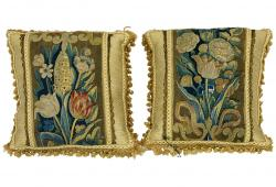 18th Century French Verdure Tapestry Pillows, Pair