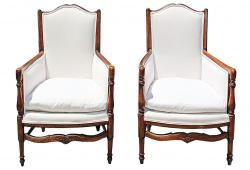 19 C French Country Armchairs, Pair