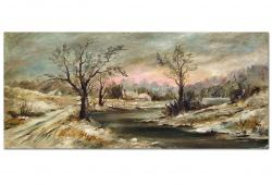 1910 Impressionist Winter Landscape Painting