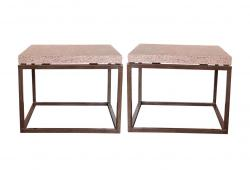 1940s Industrial Granite & Steel End Tables