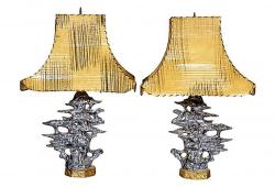 1950s Asian-Designed Table Lamps, Pair