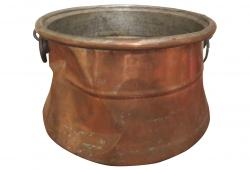 19th C Copper Cauldron with Iron Handle