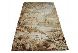 19th C. French Aubusson Tapestry Depicting Log Cabin & Birds
