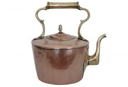 19th C. French Copper & Brass Tea Kettle