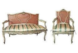 19th-Century French Settee & Fauteuil