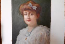 19th century Oil Portrait of French Lady
