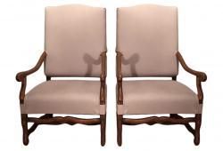 19th Century Os de Mouton Armchairs, Pair