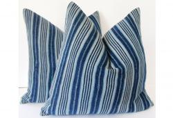 African Indigo Stripe Linen Pillow, Pair