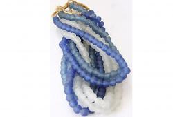 African Trading Beads in a Blue and White, Six Strands