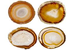 Yellows, Golds and Orange Agate Slice Coasters, Set Of 4