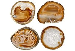 Brown Gold Agate Slice Coasters, Set 4