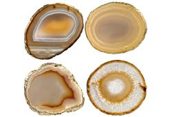 Golds & White Agate Slice Coasters, Set 4