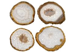 White Agate Slice Coasters, Set Of 4