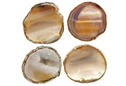 Ivory  Gold Agate Slice Coasters, Set Of 4