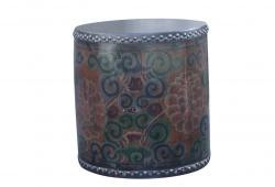 Aged Tibet Leather Drum Side Table