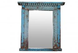Aged Turquoise Haveli Window Mirror