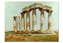 Ancient Greece Ruins Watercolor