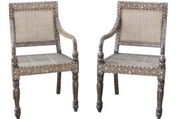 Vintage Anglo-Indian Bone Inlay Caned Seat & Back Chairs